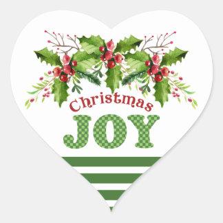 Ramas de la alegría del navidad de los pegatinas pegatina en forma de corazón