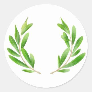 Ramas de olivo pegatina redonda