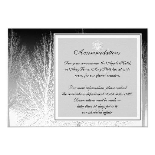 Ramas del invierno en parte movible gris blanco ne invitación