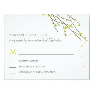 Ramas florecientes que casan la tarjeta de RSVP - Invitación 10,8 X 13,9 Cm