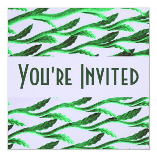 ramas verdes elegantes invitación 13,3 cm x 13,3cm