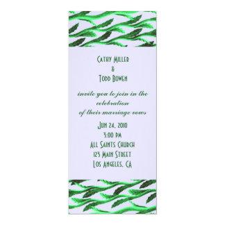 ramas verdes elegantes invitación 10,1 x 23,5 cm