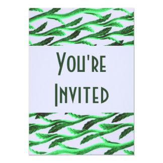 ramas verdes elegantes invitación 12,7 x 17,8 cm