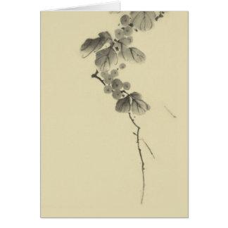 Ramifique con las hojas y las bayas, japoneses de  felicitacion
