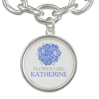 Ramillete azul del florista nombrado casando pulsera