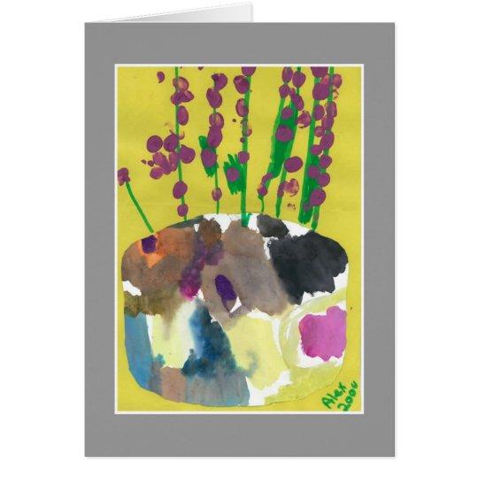 Ramilletes púrpuras con la tarjeta de la cita de