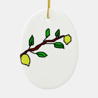 ramita del limón adorno navideño ovalado de cerámica
