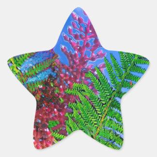 Ramo con los helechos pegatina en forma de estrella