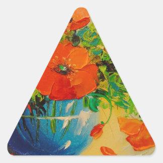 Ramo de amapolas en florero pegatina triangular