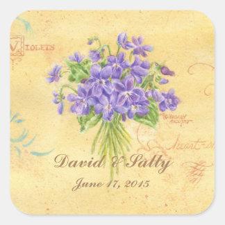 Ramo de encargo de las violetas de los pegatinas pegatina cuadrada
