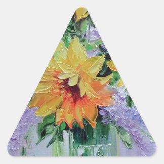Ramo de girasoles pegatina triangular