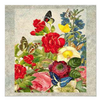 Ramo de la flor del vintage con las mariposas invitación 13,3 cm x 13,3cm