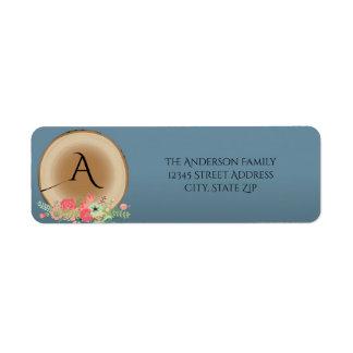 Ramo de madera rústico - etiqueta de dirección
