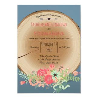 Ramo de madera rústico - invitación del boda