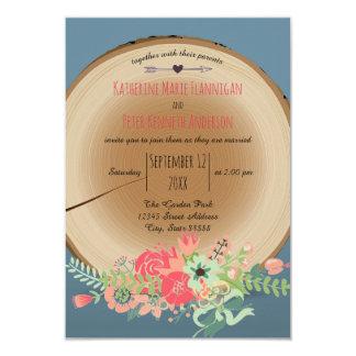 Ramo de madera rústico - invitación del boda 3x5