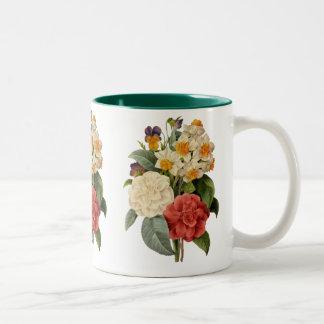 Ramo del boda del vintage, flores florecientes taza de café de dos colores
