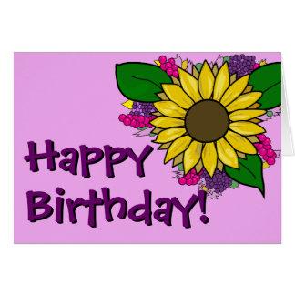 Ramo del girasol - tarjeta de cumpleaños