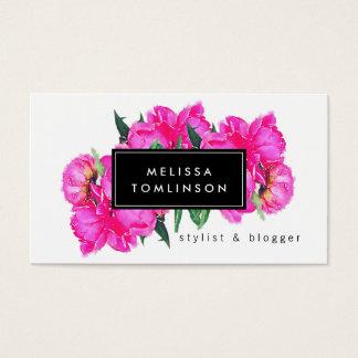 Ramo floral de la acuarela de los Peonies Tarjeta De Visita
