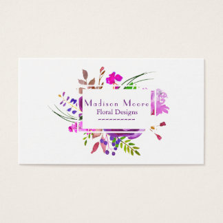 Ramo floral de la acuarela púrpura tarjeta de negocios