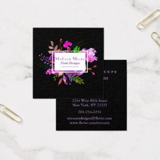 Ramo floral de la acuarela púrpura tarjeta de visita cuadrada