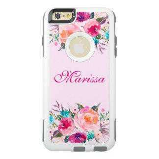 Ramo floral de los rosas de la acuarela rosada funda otterbox para iPhone 6/6s plus