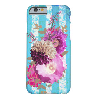 Ramo floral púrpura en rayas azules funda barely there iPhone 6