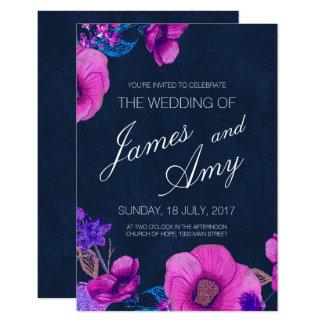 Ramo floral - púrpura rosada - invitación del boda