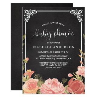 Ramo floral y marco de la fiesta de bienvenida al invitación 12,7 x 17,8 cm