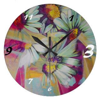 Ramo redondo grande de la flor de la margarita del reloj redondo grande