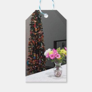 Ramo y árbol de navidad coloridos de la flor etiquetas para regalos