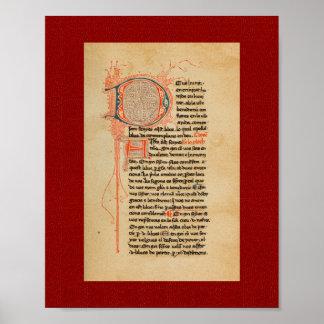 Ramón Llull: Manuscrito iluminado del siglo XIII Póster
