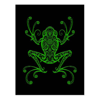 Rana arbórea verde compleja en negro postal