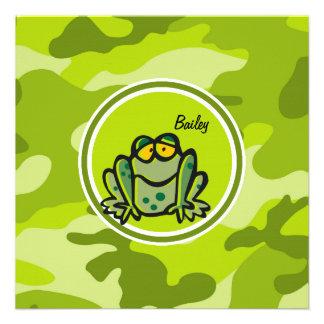Rana; camo verde claro, camuflaje invitación personalizada