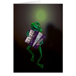 Rana con el acordeón 4 tarjeta