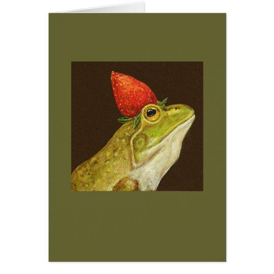 rana con la tarjeta de la fresa