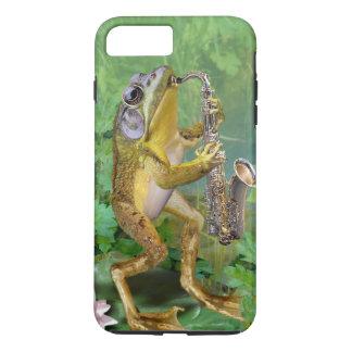 rana de la caja del teléfono que toca el saxofón funda iPhone 7 plus