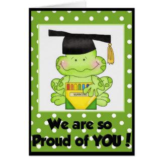 Rana de la graduación somos orgullosos usted la tarjeta