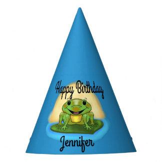 Rana del feliz cumpleaños en los gorras de lirio