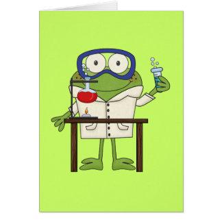 Rana en el laboratorio de ciencia tarjeta de felicitación