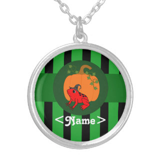 Rana roja con la calabaza y las rayas verdes colgante redondo