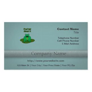 Rana verde - la rana consigue sobre ella plantillas de tarjetas personales