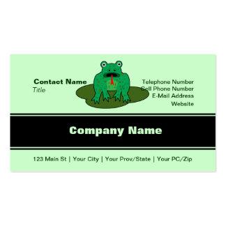 Rana verde - la rana consigue sobre ella plantilla de tarjeta personal
