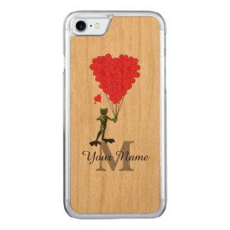 Rana y monograma rojo del corazón funda para iPhone 7 de carved