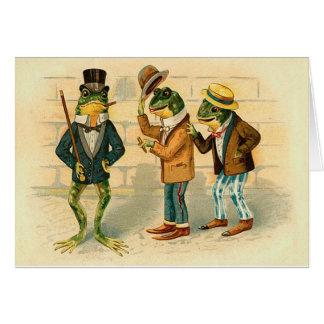 Ranas divertidas del vintage tarjeta de felicitación