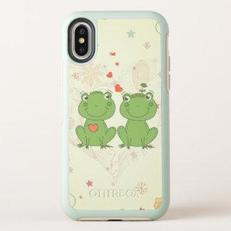 ranas lindas en dibujo animado del vector del amor