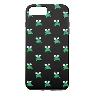 Ranas verdes en la cubierta negra del teléfono funda iPhone 7 plus