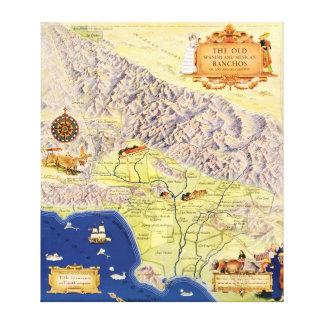 Ranchos españoles y mexicanos del mapa de Los Ánge Lona Envuelta Para Galerias