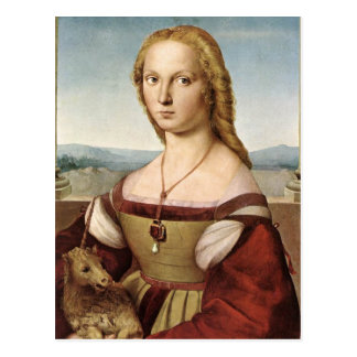 Raphael Sanzio - señora With un unicornio Postal