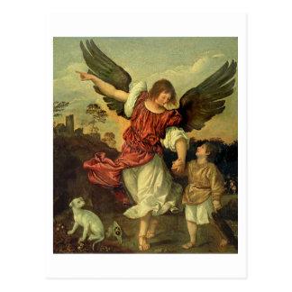 Raphael y Tobias, 1507-8 (aceite en el panel) Postal