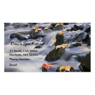 Rapids de precipitación con las hojas de otoño tarjetas de visita